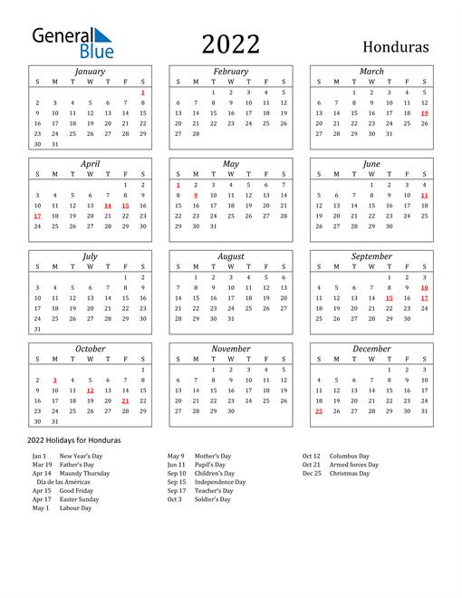 Image of Honduras 2022 Calendar Streamlined Version with Holidays
