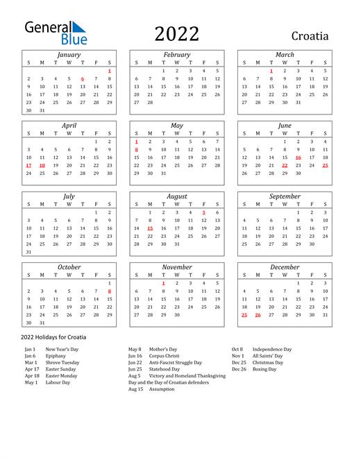 2022 Croatia Holiday Calendar