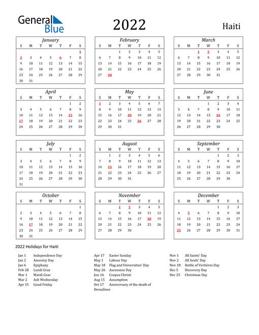 2022 Haiti Holiday Calendar