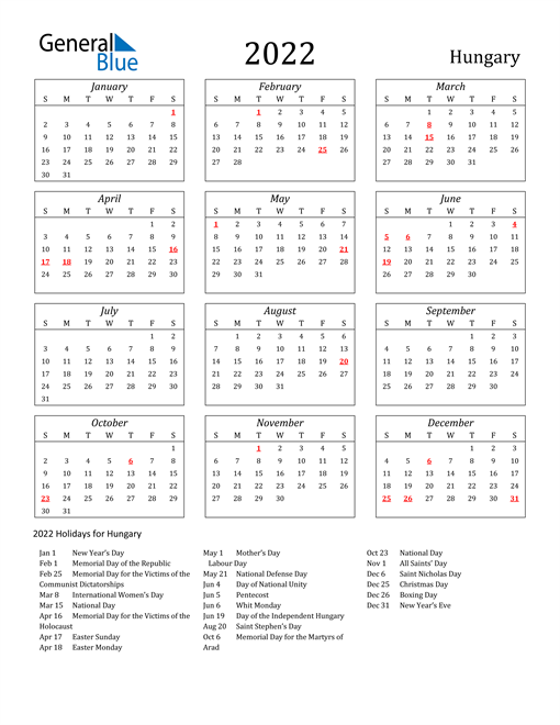 2022 Hungary Holiday Calendar