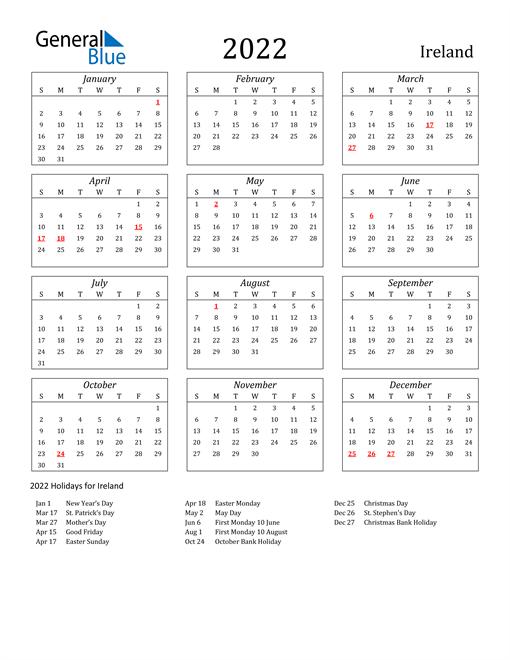 2022 Calendar - Ireland with Holidays