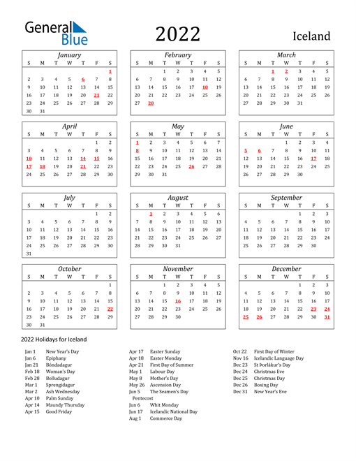 2022 Iceland Holiday Calendar