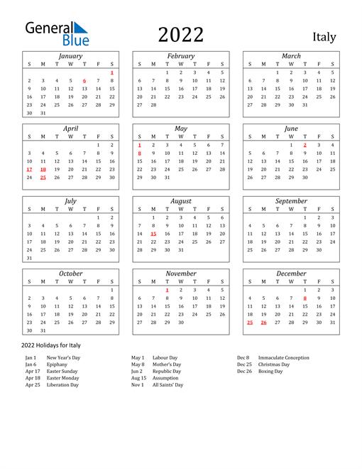 2022 Italy Holiday Calendar