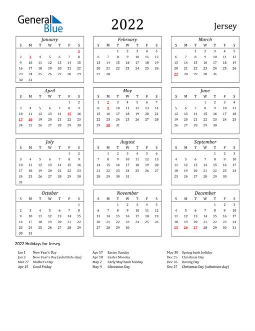2022 Jersey Holiday Calendar