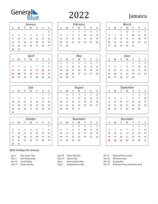 Image of Jamaica 2022 Calendar Streamlined Version with Holidays