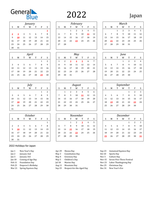 2022 Japan Holiday Calendar