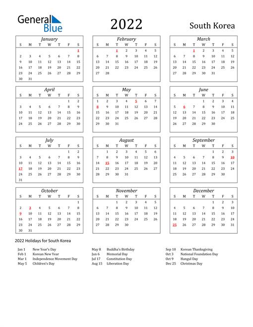 2022 South Korea Holiday Calendar