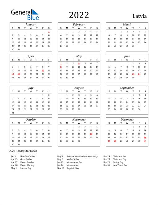 2022 Latvia Holiday Calendar