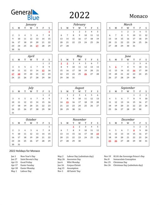 2022 Monaco Holiday Calendar