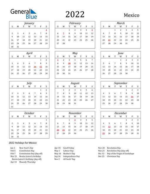 2022 Mexico Holiday Calendar