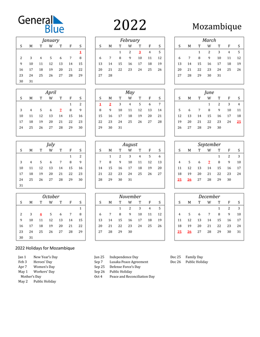 2022 Mozambique Holiday Calendar