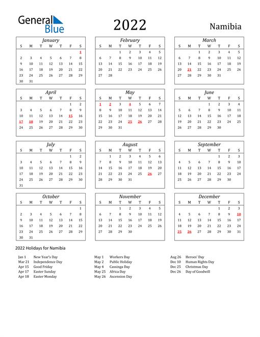 2022 Namibia Holiday Calendar