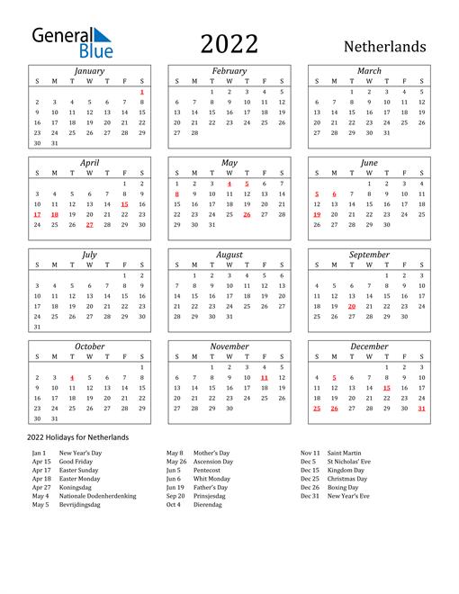 2022 Netherlands Holiday Calendar