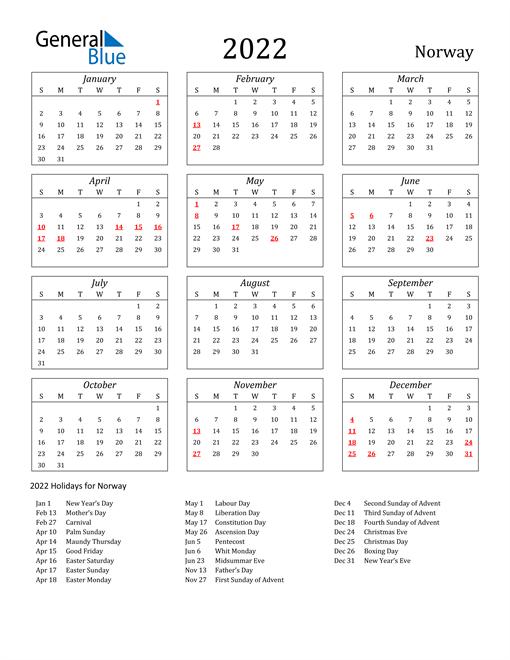 2022 Norway Holiday Calendar