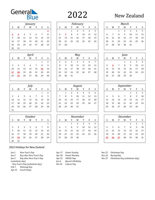 2022 New Zealand Holiday Calendar