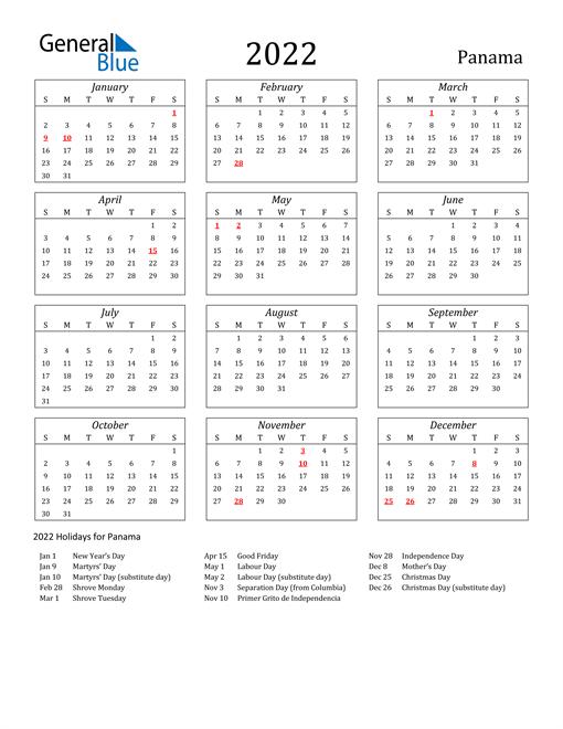 2022 Panama Holiday Calendar
