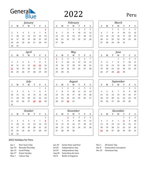 Image of Peru 2022 Calendar Streamlined Version with Holidays
