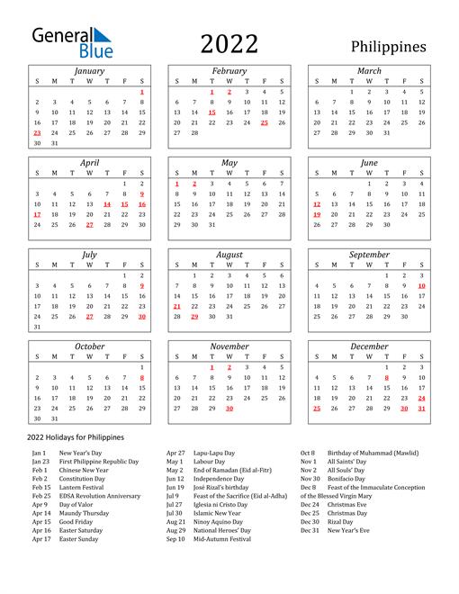 2022 Philippines Holiday Calendar