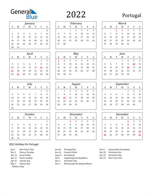 2022 Portugal Holiday Calendar