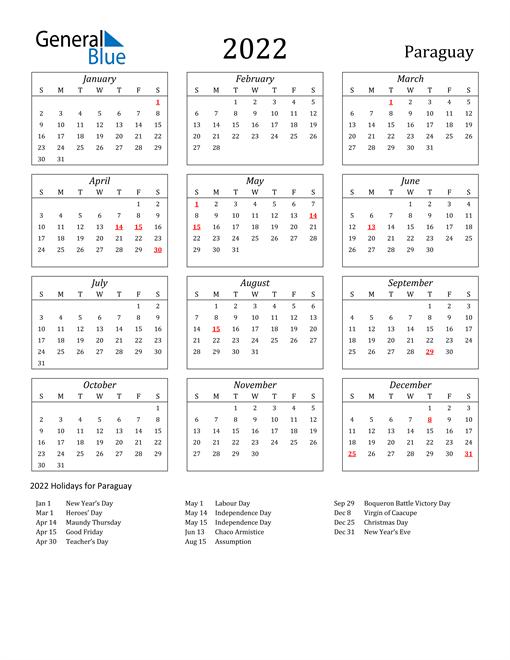 2022 Paraguay Holiday Calendar
