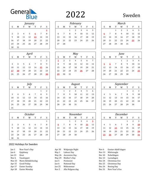2022 Sweden Holiday Calendar