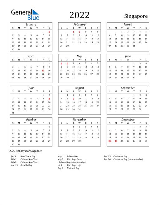 2022 Singapore Holiday Calendar