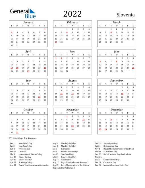 2022 Slovenia Holiday Calendar