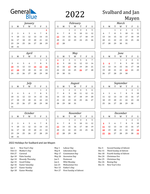 2022 Svalbard and Jan Mayen Holiday Calendar