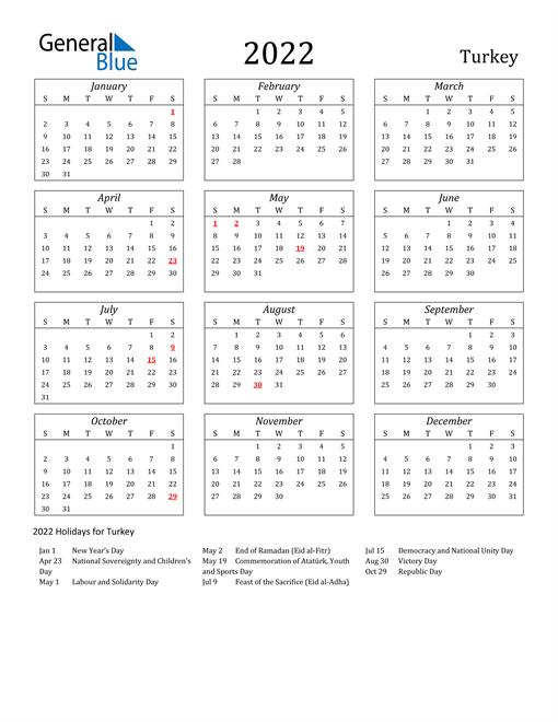 2022 Turkey Holiday Calendar