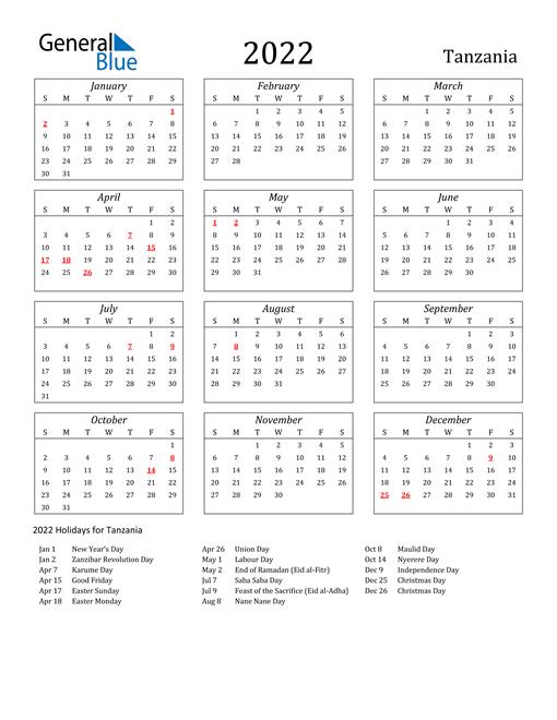 2022 Tanzania Holiday Calendar