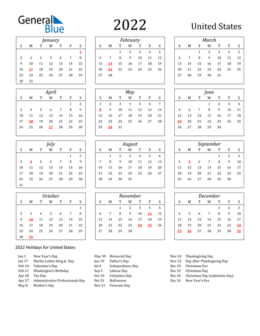 2022 Calendar With Holidays Usa.F R E E P R I N T A B L E 2 0 2 2 C A L E N D A R W I T H H O L I D A Y S U S Zonealarm Results
