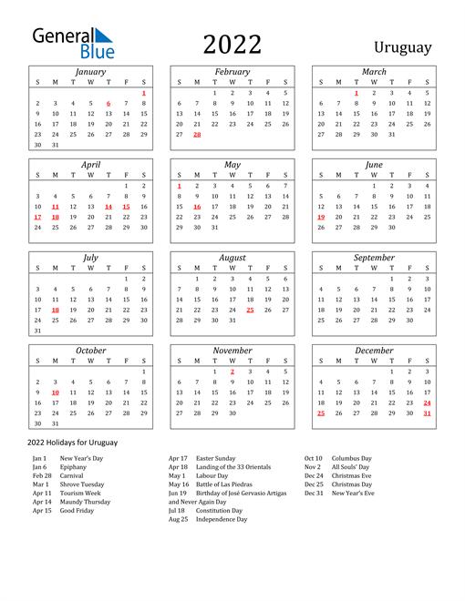 2022 Uruguay Holiday Calendar