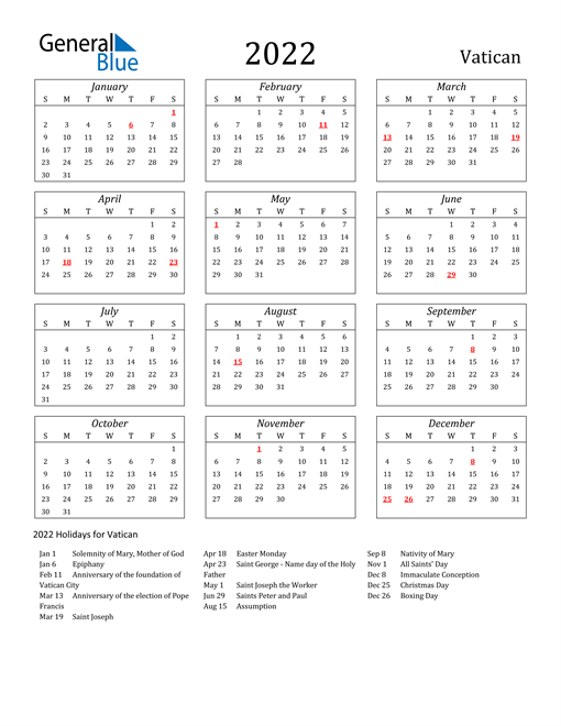 2022 Vatican Holiday Calendar