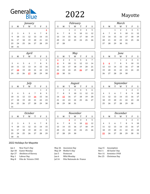 2022 Mayotte Holiday Calendar