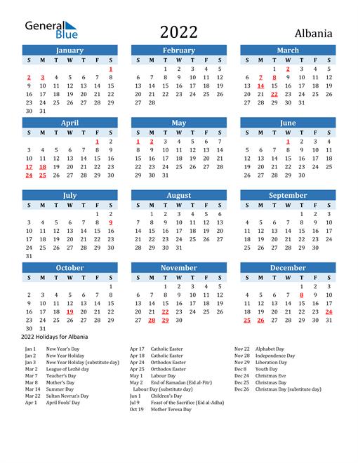 Printable Calendar 2022 with Albania Holidays