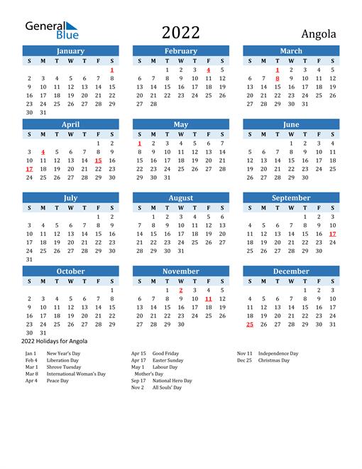 Printable Calendar 2022 with Angola Holidays