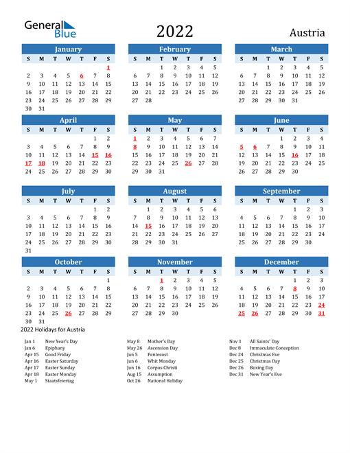 Printable Calendar 2022 with Austria Holidays