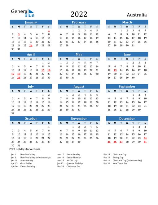 2022 Calendar - Australia with Holidays