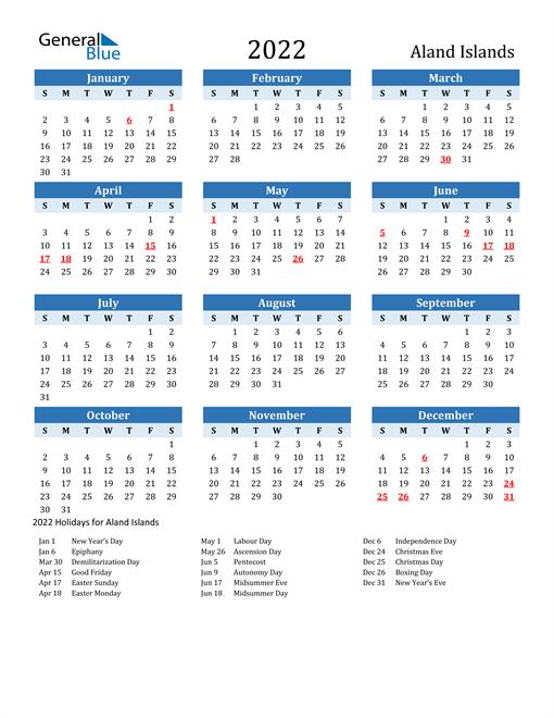 Printable Calendar 2022 with Aland Islands Holidays