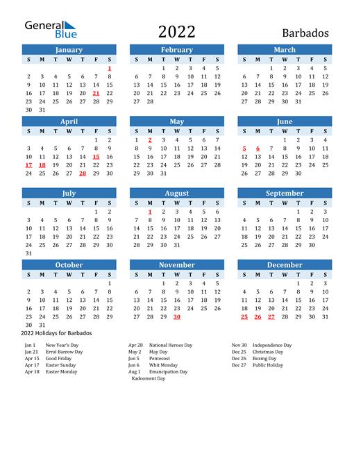 Printable Calendar 2022 with Barbados Holidays