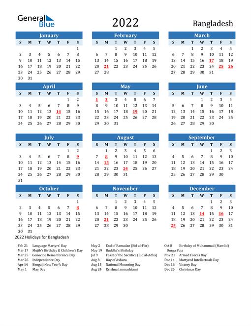 Printable Calendar 2022 with Bangladesh Holidays
