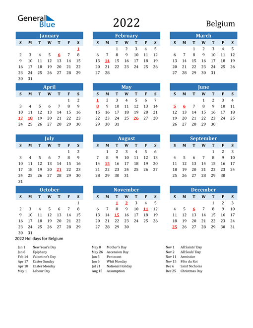 Printable Calendar 2022 with Belgium Holidays