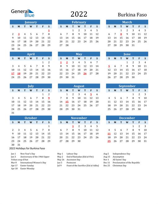 Printable Calendar 2022 with Burkina Faso Holidays