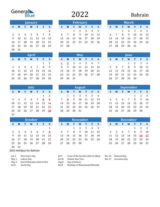 Printable Calendar 2022 with Bahrain Holidays