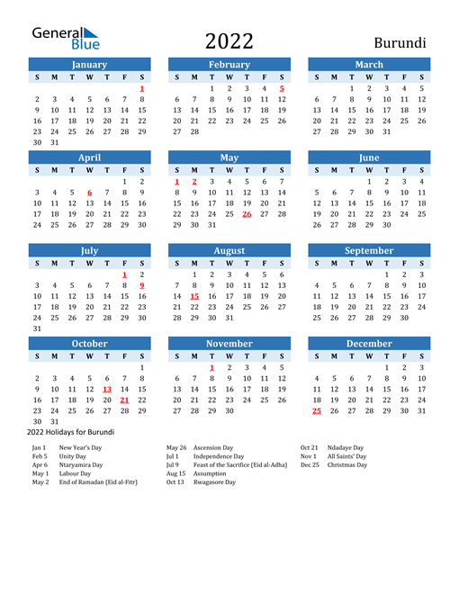 Printable Calendar 2022 with Burundi Holidays