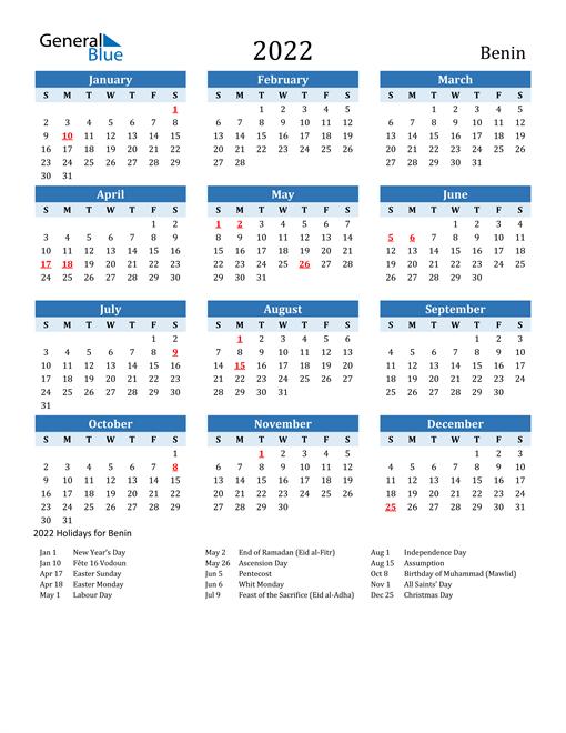 Printable Calendar 2022 with Benin Holidays