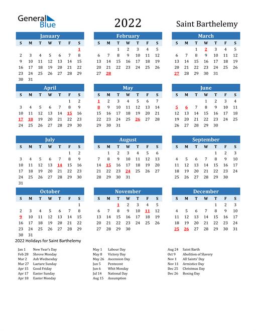Printable Calendar 2022 with Saint Barthelemy Holidays