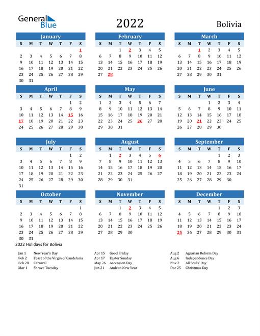 Printable Calendar 2022 with Bolivia Holidays