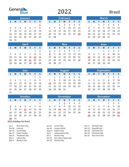 Printable Calendar 2022 with Brazil Holidays