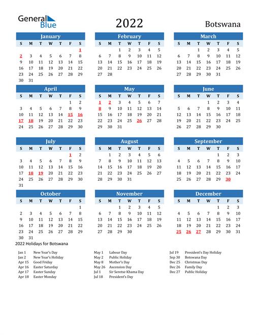 Printable Calendar 2022 with Botswana Holidays